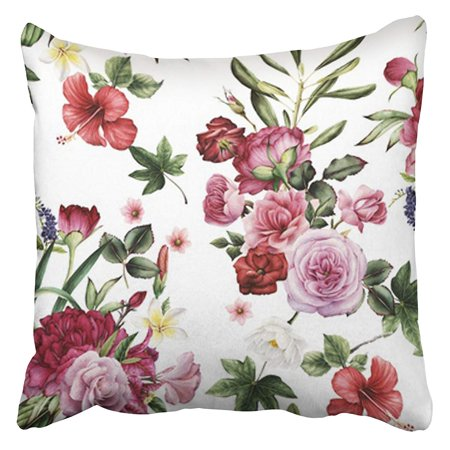 Vintage Rose Pattern (ARHOME Colorful Vintage Floral Pattern with Flowers Watercolor Red Bouquet Summer Rose Flora Pillow Case Cushion Cover 18x18)