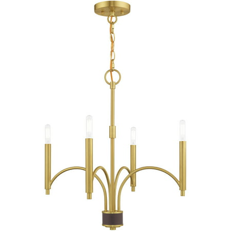 Mini Chandeliers 4 Light Fixtures With Satin Brass Finish Steel Material Candelabra 22