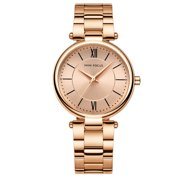 Womens Quartz Watch Rose Gold Dial Solid Steel Belt Time Scale Rome Style for Friends Lovers Best Holiday Gift Casual