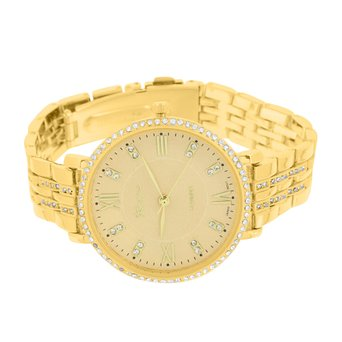 Ladies Gold Tone Watch Lab Simulated Diamond Roman Dial Brand New Party Wear