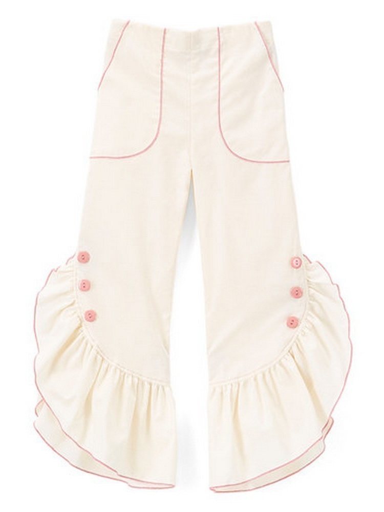 Girls Ivory Pink Ruffled Trim Button Detail Cotton Pants