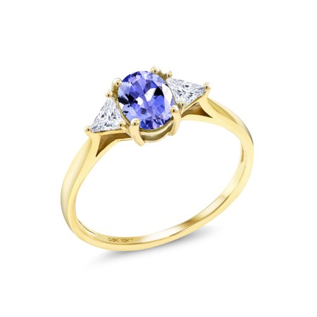 10K Yellow Gold Ring Oval Blue Tanzanite Created Moissanite IJK 0.32ct DEW