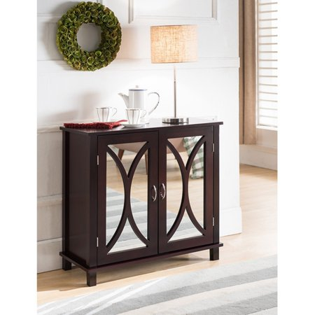 K&B Furniture Espresso Wood 2 Door Mirrored Storage Cabinet