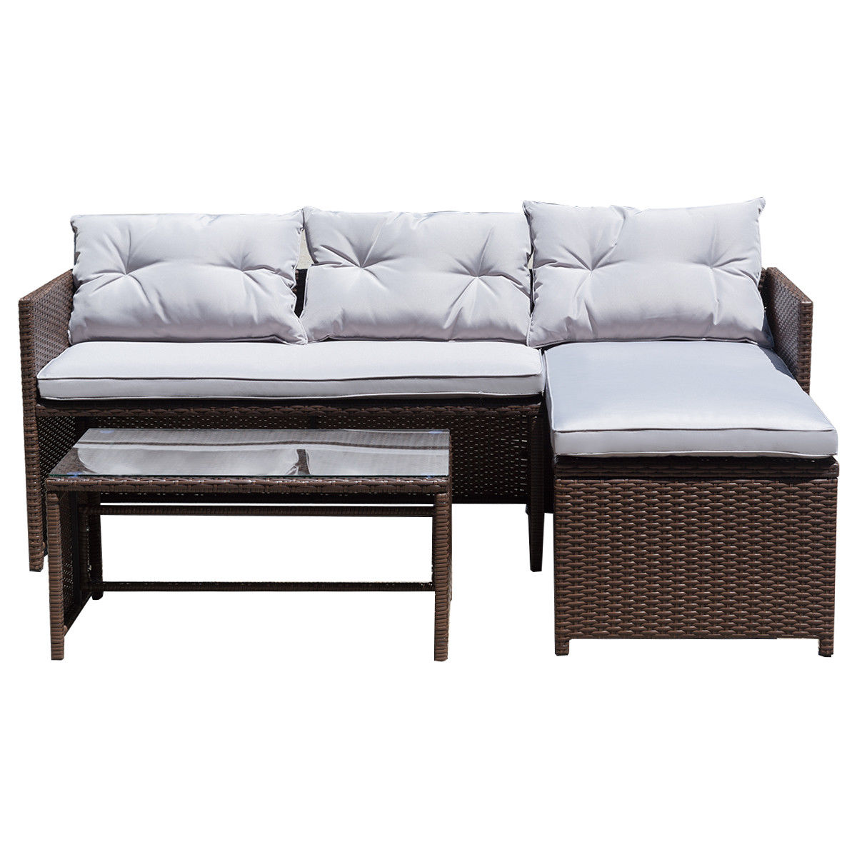Gymax 3PC Rattan Furniture Set Outdoor Patio Couch Sofa Wicker Set