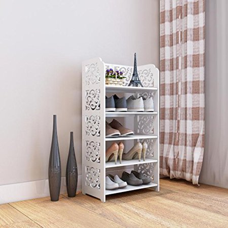 Zimtown 5-Tier Wood Plastic Composite Shelf Unit Storage Organizer Shelf Bookcase Display Rack ,White