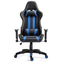 Costway Executive Racing Style High Back Reclining Gaming Chair, Black and Blue