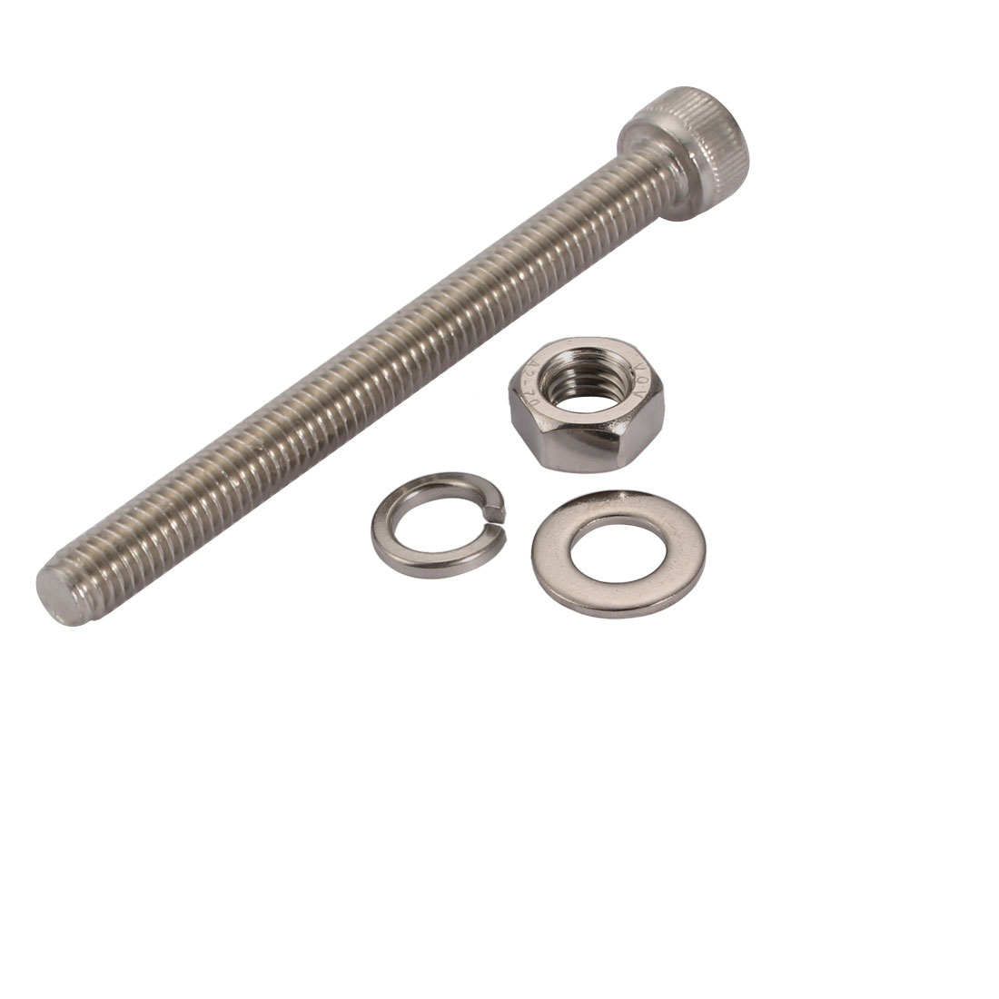 10Pcs M6x65mm 304 Stainless Steel Knurled Hex Socket Head Bolts Nuts Set w Washers - image 3 of 5