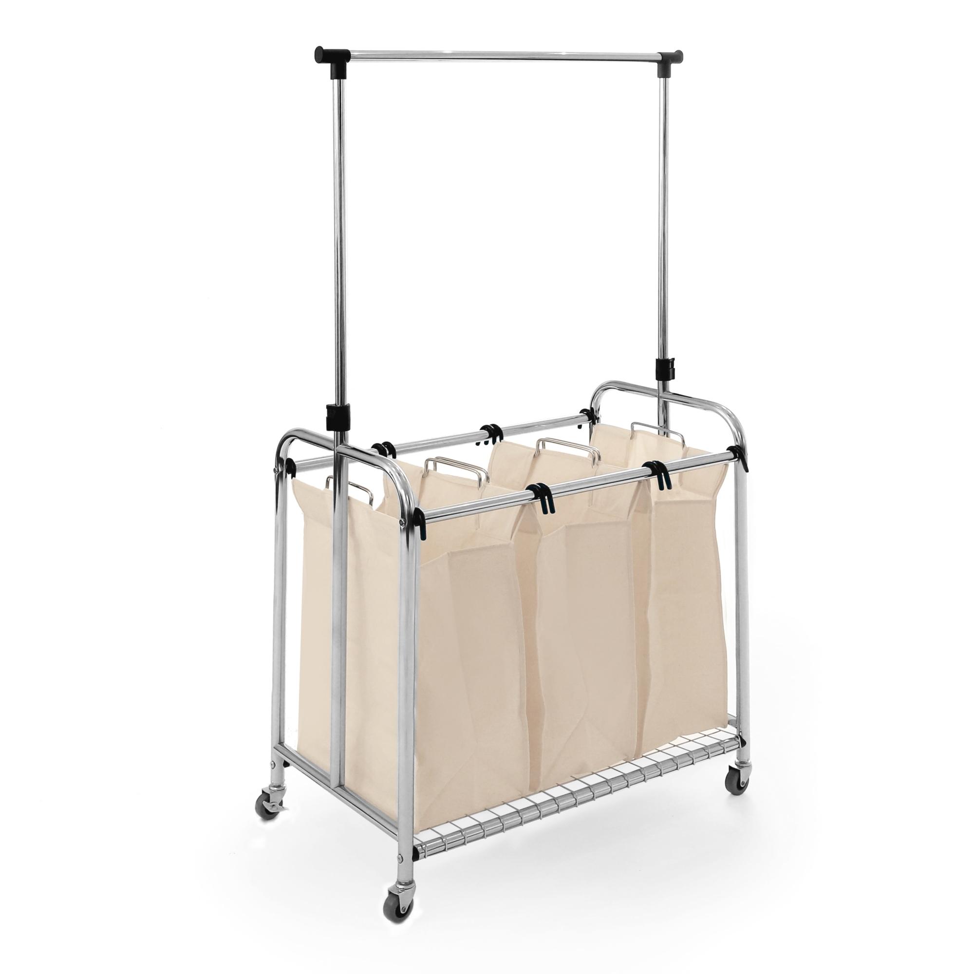 Seville Classics 3-Bag Laundry Hamper/Sorter Cart with Clothes Rack