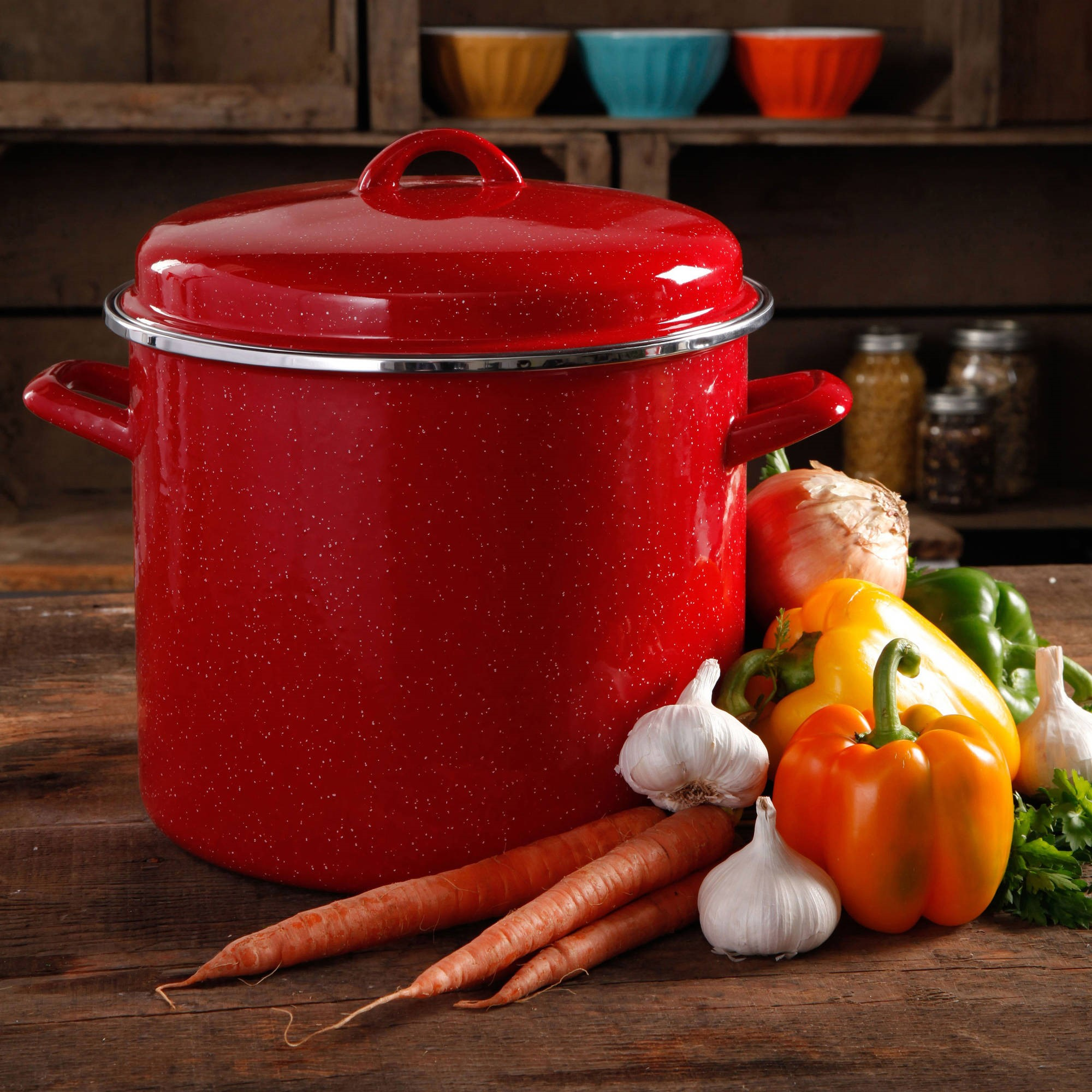 The Pioneer Woman Vintage Speckle 12-Quart Stock Pot with Hollow Side Handles