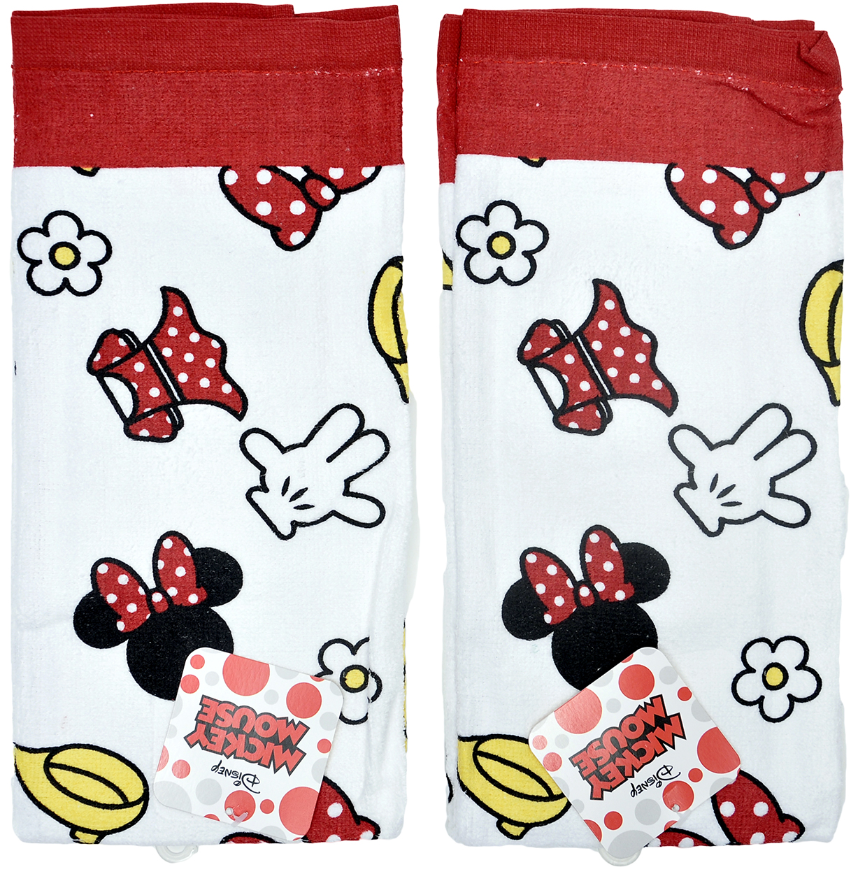 Minnie Mouse Kitchen Dish Towels Set 2-Piece White & Red