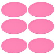Kitchen Silicone Round Cup Heat Resistant Coaster Table Protector Mat Pink 6pcs for Christmas