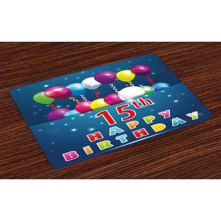 15th Birthday Placemats Set of 4 Festive Occasion Surprise Party Theme with Balloons and Curly Swirled Ribbons, Washable Fabric Place Mats for Dining Room Kitchen Table Decor,Multicolor, by Ambesonne