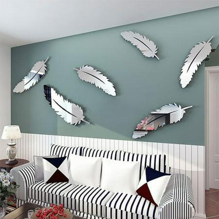 Moderna 8 Pcs/Set Modern Feather Acrylic Mirror Wall Art Sticker Home Office Decor Gift