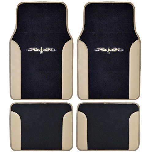 A Set of 4 Universal Fit Plush Carpet with Vinyl Trim Floor Mats For Cars   Trucks Tribal Tan by LavoHome