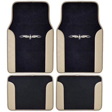 A Set Of 4 Universal Fit Plush Carpet With Vinyl Trim Floor Mats For Cars   Trucks   Tribal Tan