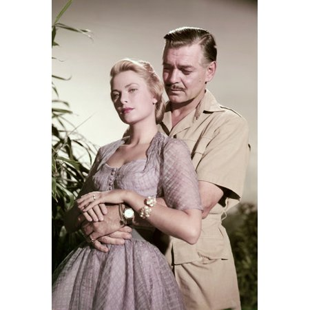 Grace Kelly Clark Gable (Clark Gable and Grace Kelly in Mogambo romantic pose 24x36 Poster)