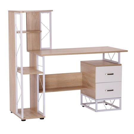 """52"""" Multi Level Tower Office Workstation Computer Desk – White and Oak ()"""