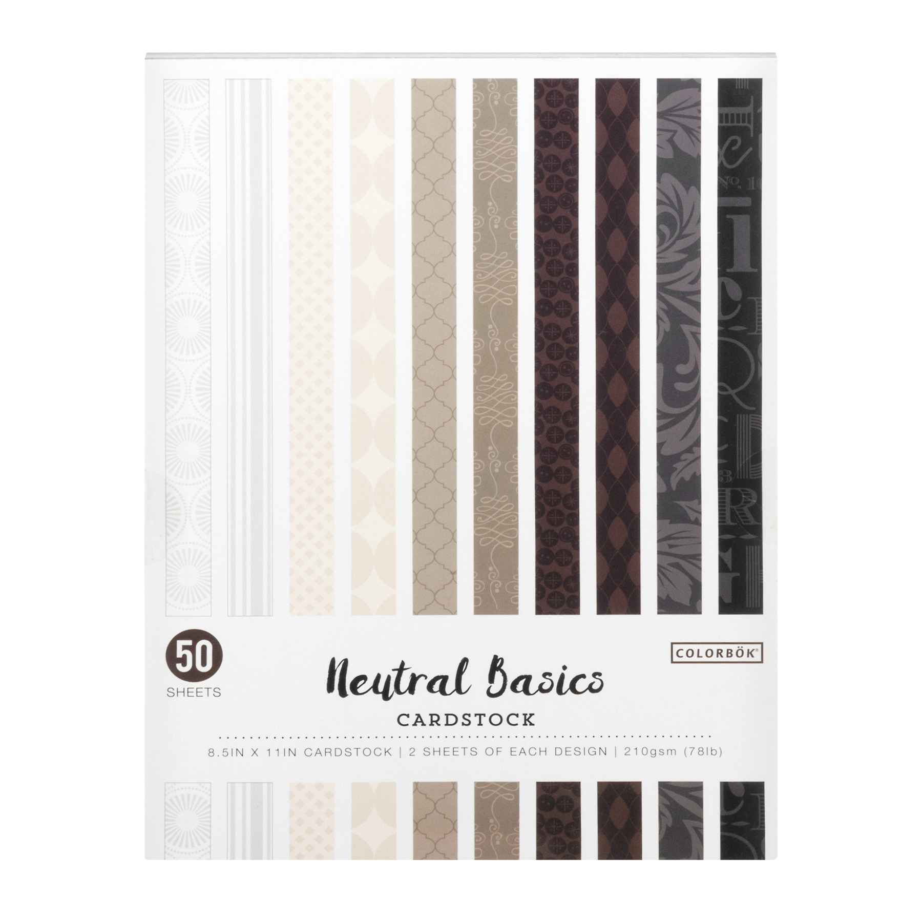 "Colorbok 8.5"" x 11"" Neutral Basics Cardstock, 50 Count"