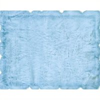 "Hawthorne Collection 1'8"" x 2'6"" Faux Sheepskin Area Rug in Blue"