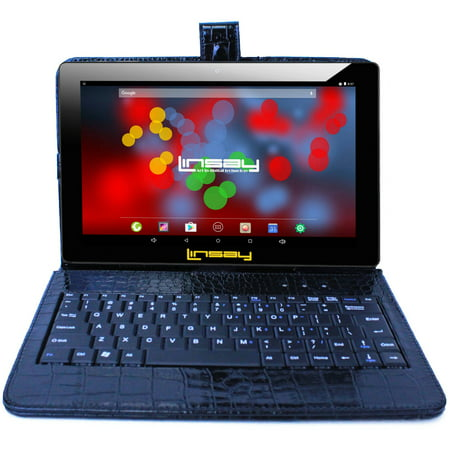 "LINSAY 10.1"" Quad Core 1280 x 800 IPS Screen 2 GB Ram Android 6.0 Tablet 16 GB with Black Crocodile Style Keyboard"