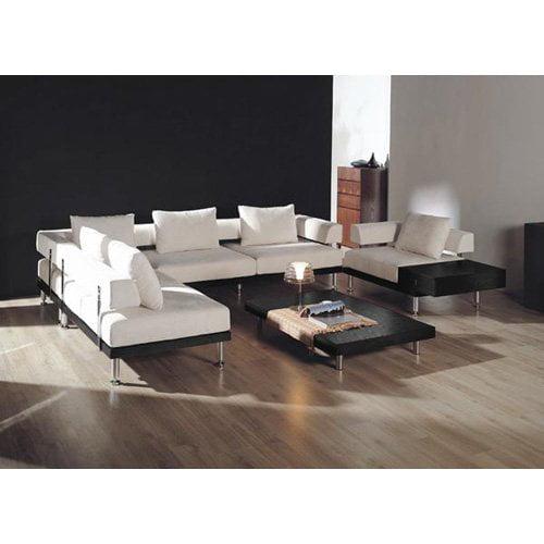 Baxton Studio Cream Microfiber Sectional Sofa