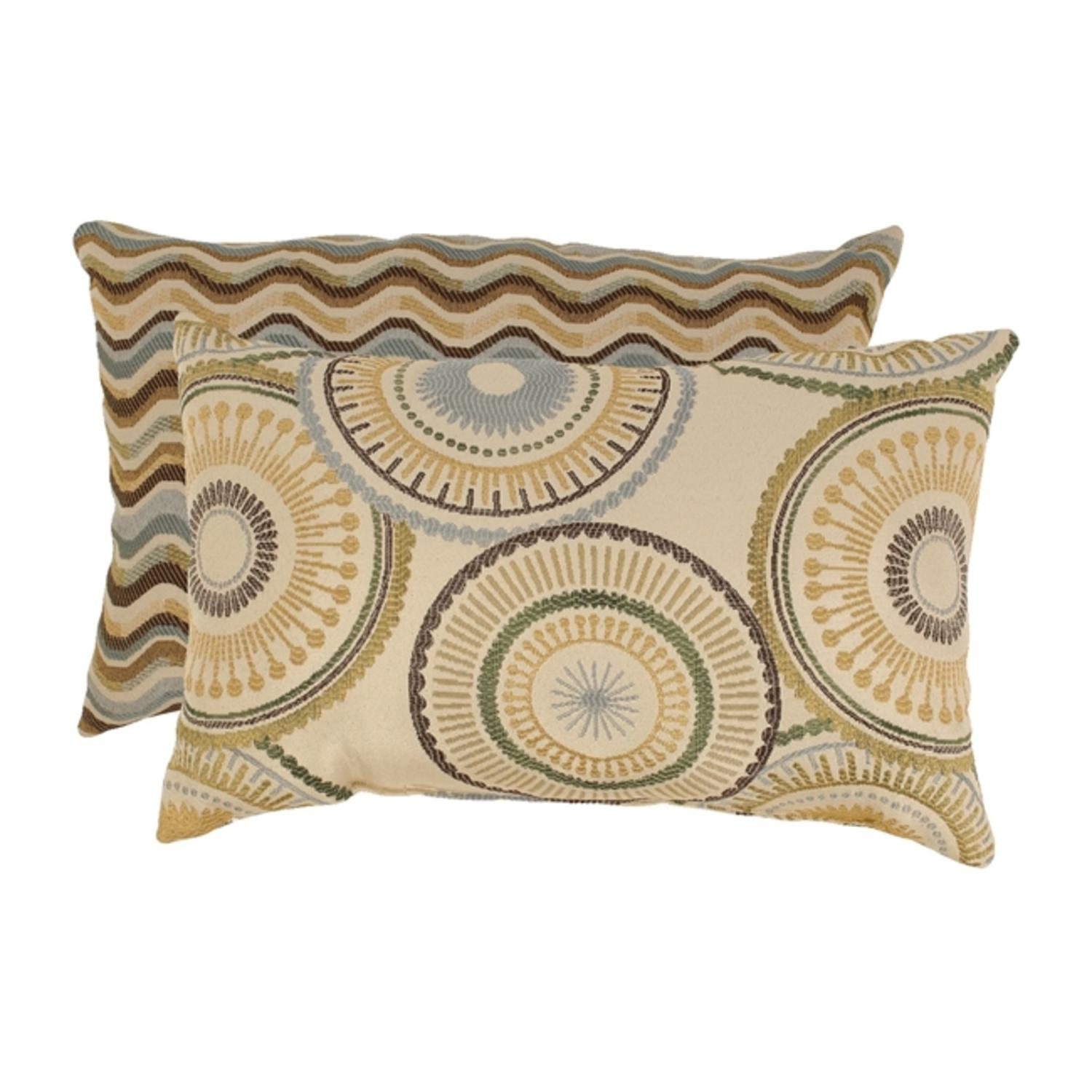 """Set of 2 Riley and Wave Curvy Striped Blue and Gold Throw Pillows 11.5"""" x 18.5"""""""