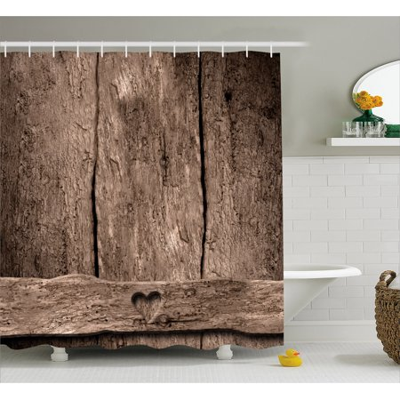 Primitive Country Decor Shower Curtain, Love Themed Romantic Cute Heart Shape on Rustic Rough Wooden Slats Image, Fabric Bathroom Set with Hooks, 69W X 70L Inches, Umber, by Ambesonne](Cute Shower Curtain)