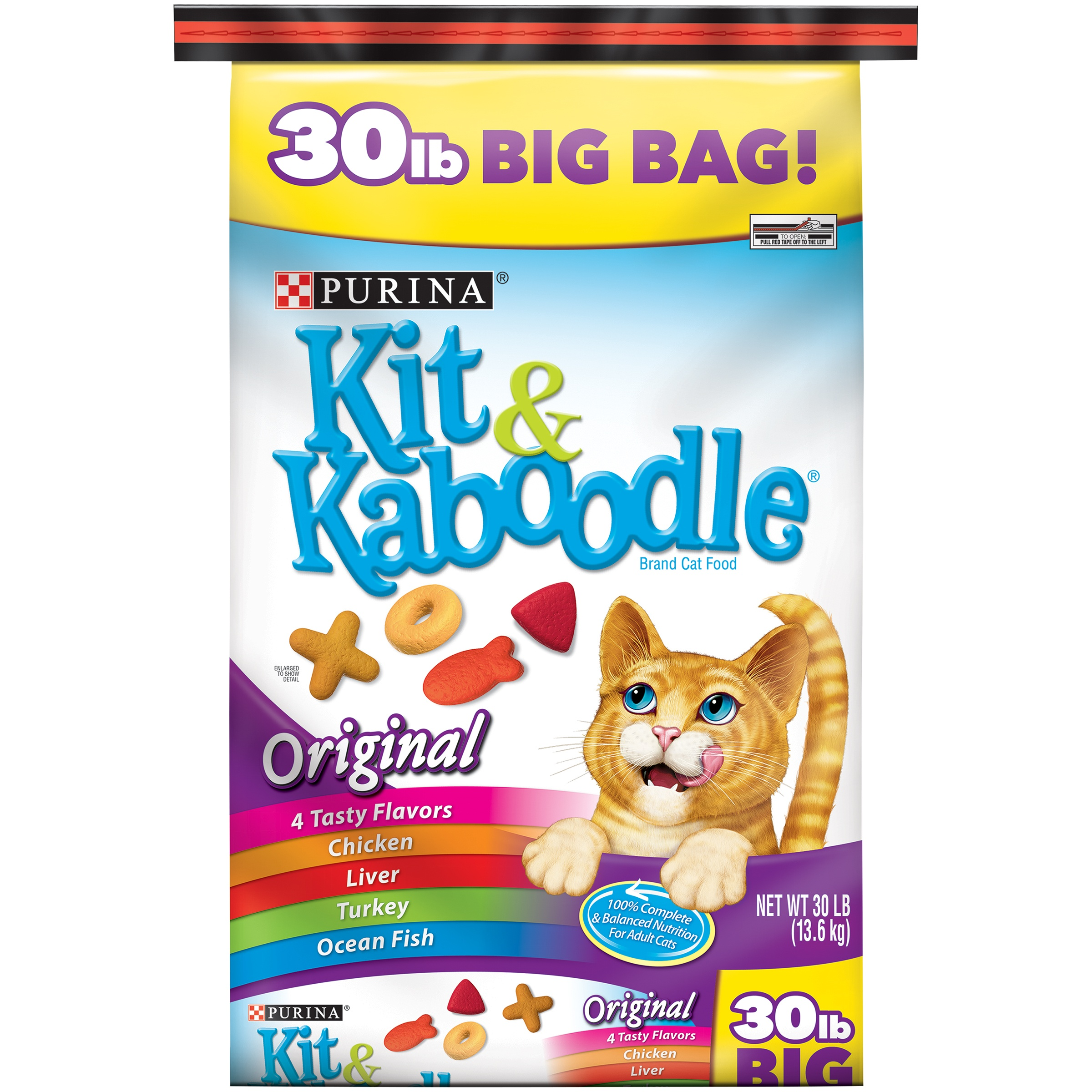 Purina Kit & Kaboodle Original Adult Dry Cat Food, 30 lb - Walmart.com