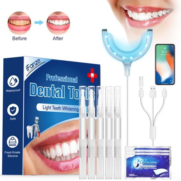Teeth Whitening Strips Teeth Whitening Kit Professional Home Teeth Whiten Gel Kit For Dental Care With 16 Powerful Led Blue Lights 3 Adapters Compatible With Iphone Android And Usb Walmart Com Walmart Com