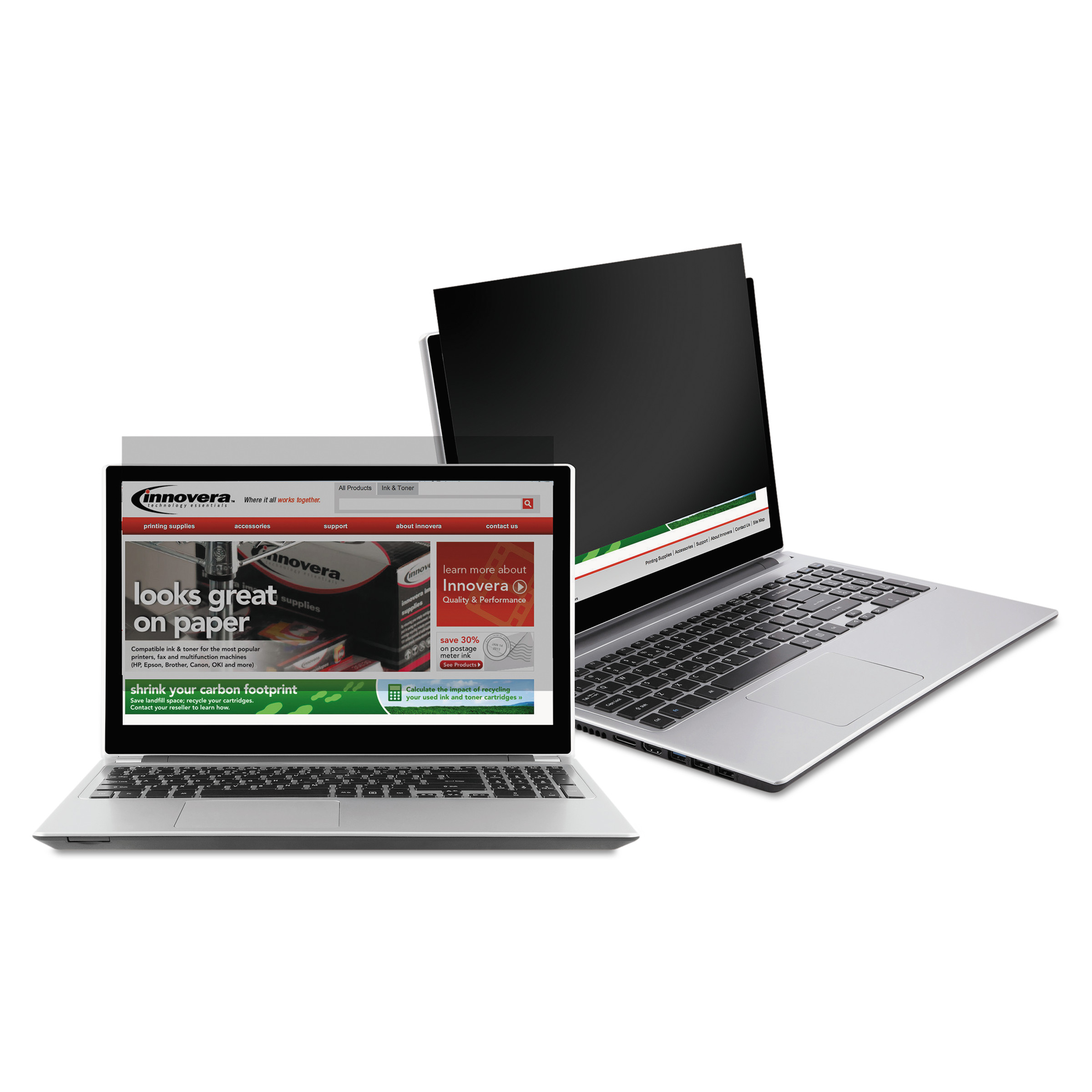 """Innovera Blackout Privacy Filter for 14"""" Widescreen Notebook, 16:9 Aspect Ratio"""