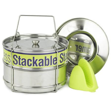 Two Tier Steamer Insert Stackable Food Design | Instant Pot Steamer Set Includes 6, 8 Quart Pots, Sling, Mix 'n Match Lids | Stainless Steel Steamer ()