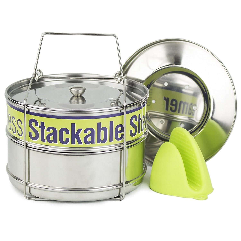 Two Tier Steamer Insert Stackable Food Design   Instant Pot Steamer Set Includes 6, 8 Quart Pots, Sling, Mix 'n Match Lids   Stainless Steel Steamer