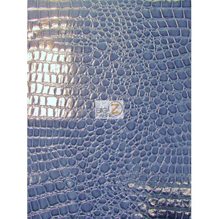 DuroLast™ Vinyl Faux Fake Leather Pleather Embossed Shiny Alligator Fabric / Navy Blue / Sold By The Yard