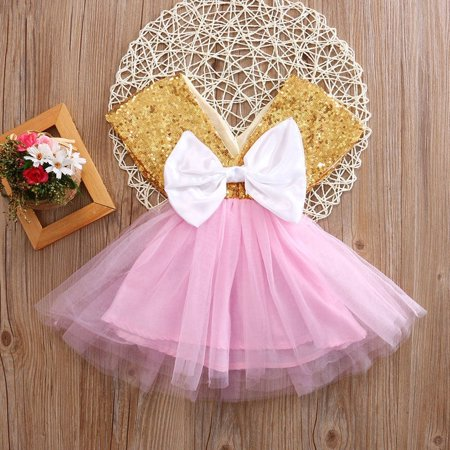 Baby Toddler Girls Dress Flower Princess Wedding Party Pageant Fancy TUTU Dress (Halloween School Girl Fancy Dress)
