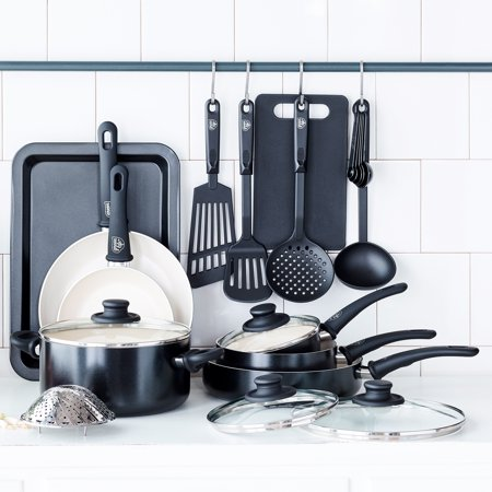 GreenLife Soft Grip Absolutely Toxin-Free Healthy Ceramic Non-stick Cookware Set, 18-Piece Set, Black for $<!---->