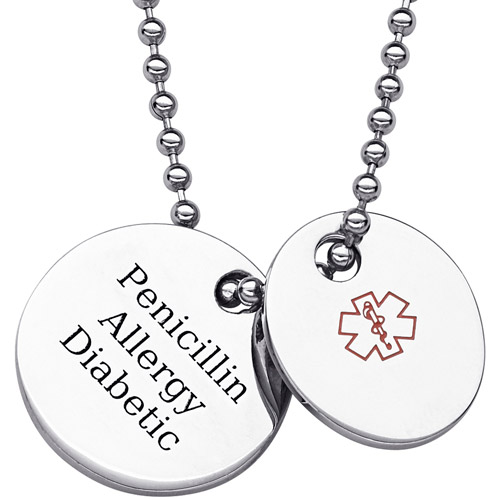 Personalized Stainless Steel Medical ID 2-Piece Pendant, 20""