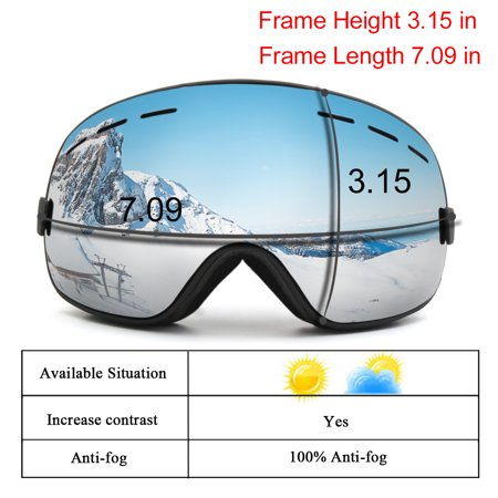 55298b8e8927 Snowboard Ski Goggles Anti-fog UV Protect Mirror Lens Glasses Women Men  Windproof Skiing Riding ...