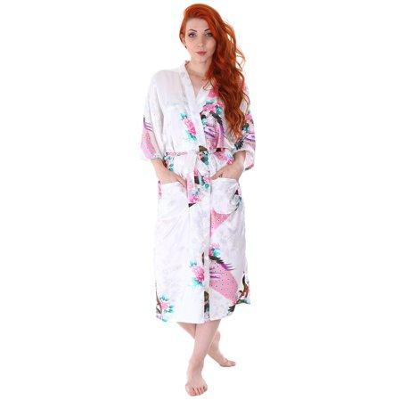Simplicity - Women s Kimono Robes Peacock Blossoms Silk Satin Long  Nightgown Sleepwear f9bf39633