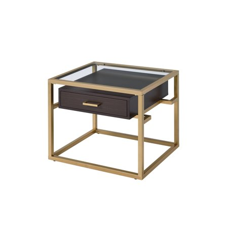 ACME Youssef 1 Drawer End Table in Clear Glass and Gold