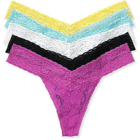 George - George - Women's Lace Thong Panties, 5-Pack ...