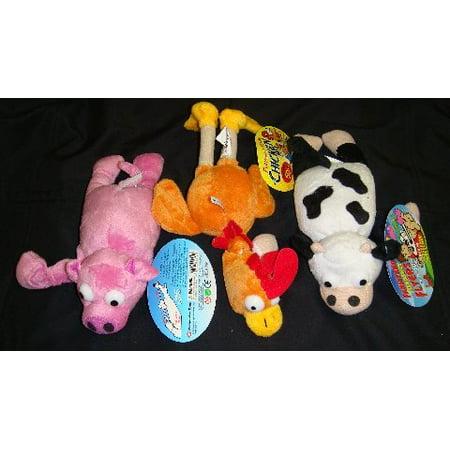- 3 Pc Farm Set Slingshot Flingshot Flying Pig Chicken Cow with Sound, 3pc Set By Playmaker Toys