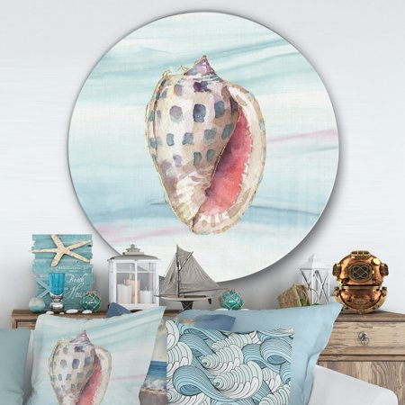 DESIGN ART Designart 'Gilded Sea Horn Shell on Blue' Nautical & Coastal Metal Circle Wall Art ()
