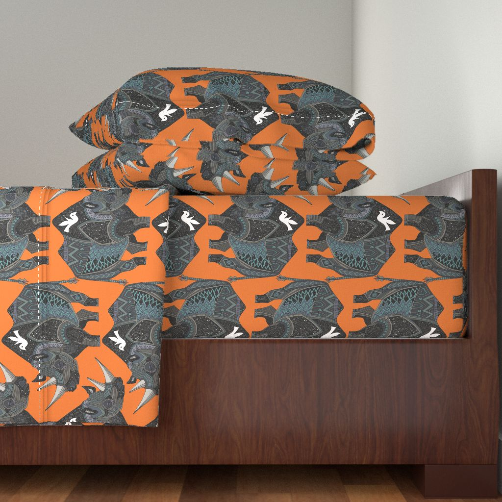 Rhino Animal Bird Dove Drawing 100% Cotton Sateen Sheet Set by Roostery