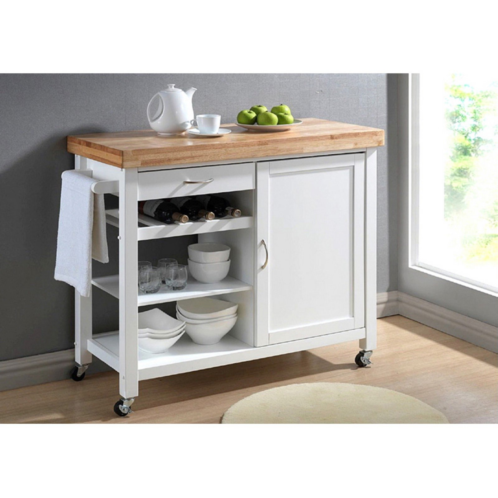 Wholesale Interiors Denver Modern Kitchen Cart, Natural/White