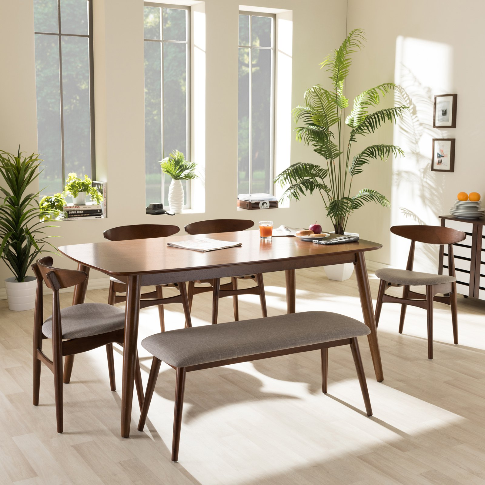 Baxton Studio Flora 6 Piece Dining Table Set