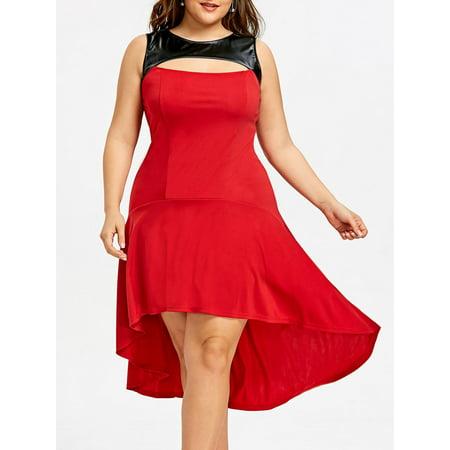 Dress Plus Size Women Pu Leather Trim High Low Plus Size Summer Dresses