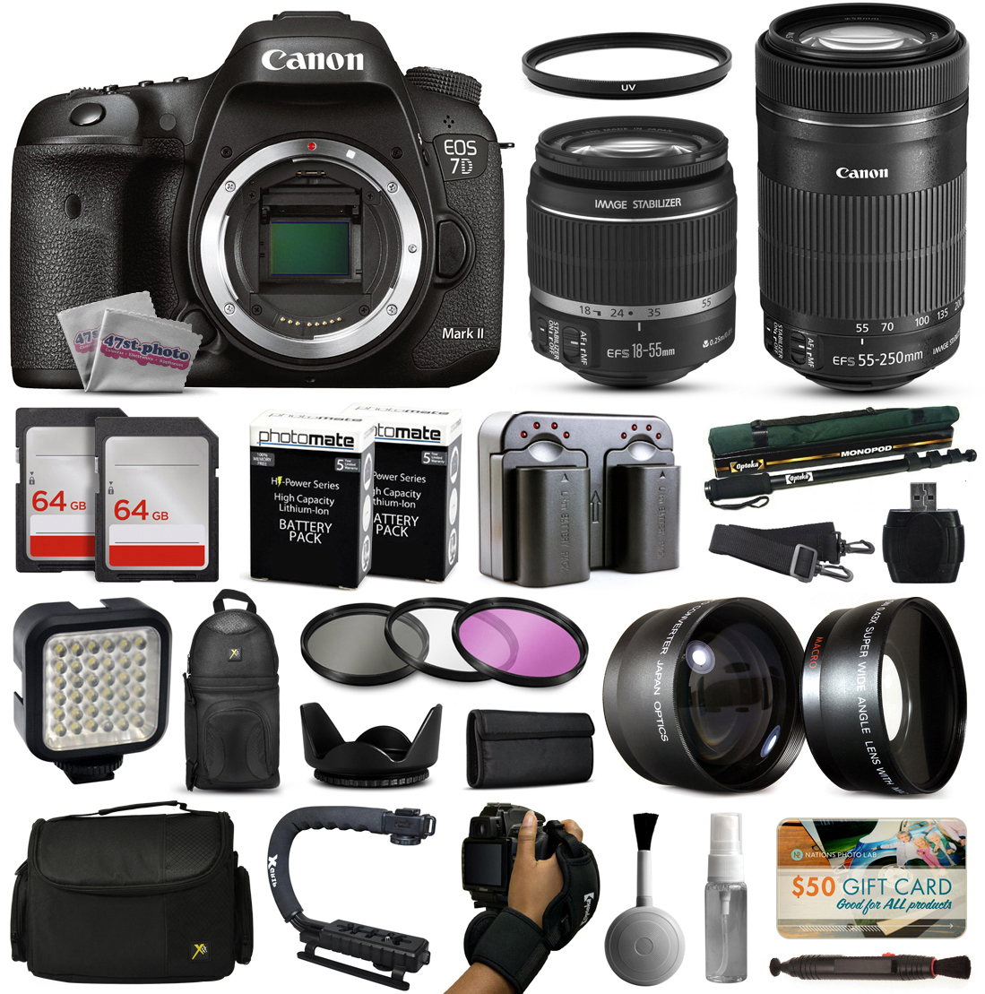 Canon EOS 7D Mark 2 DSLR Digital Camera + 18-55mm IS II + 55-250mm IS STM Lens + 128GB Memory + 2 Batteries + Charger + LED Video Light + Backpack + Case + Filters + Auxiliary Lenses + More CN7DMII185555250STMK2
