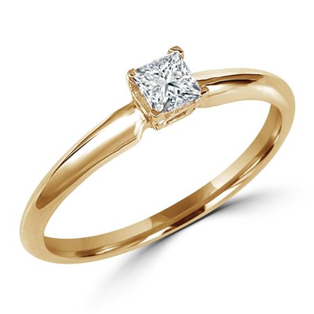 MD150201-3.5 0.33 CT Princess Cut Solitaire Diamond Engagement Promise Ring in 10K Yellow Gold, Size 3.5