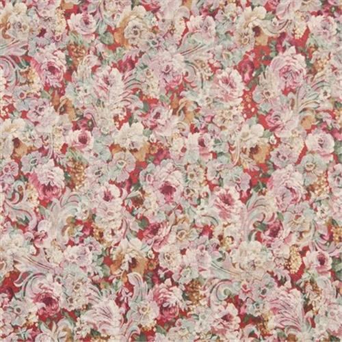 Designer Fabrics F832 54 inch Wide Red, White And Green, Floral Garden Jacquard Woven Upholstery Fabric