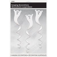 Spiral Ghost Halloween Hanging Decorations, White, 33.5in, 3ct